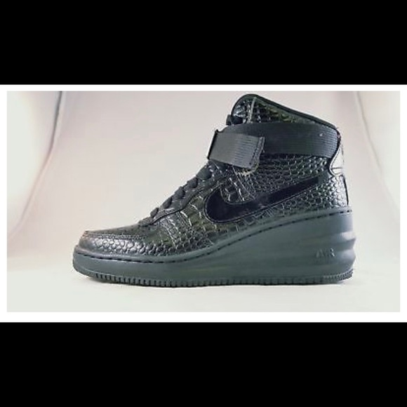 Nike Lunar Force 1 Sky Hi Black Croc Womens Wedge